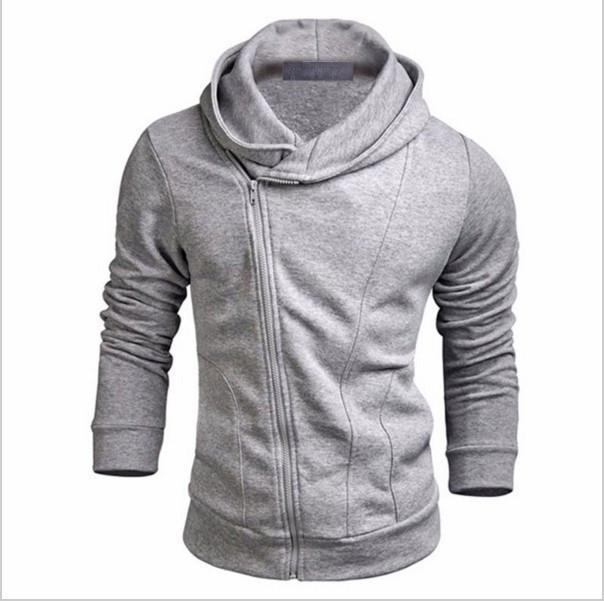 뜨거운 패션 겨울 가을 회색 블랙 남성 슬림 피트 섹시 탑 디자인 후드 스웨터 긴 소매 남자 의류