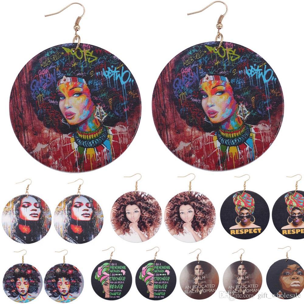 10 colores Impresión Mujer afroamericana Pendientes de madera Forma redonda Madera África Pendiente Pendiente Colgante Araña Accesorios