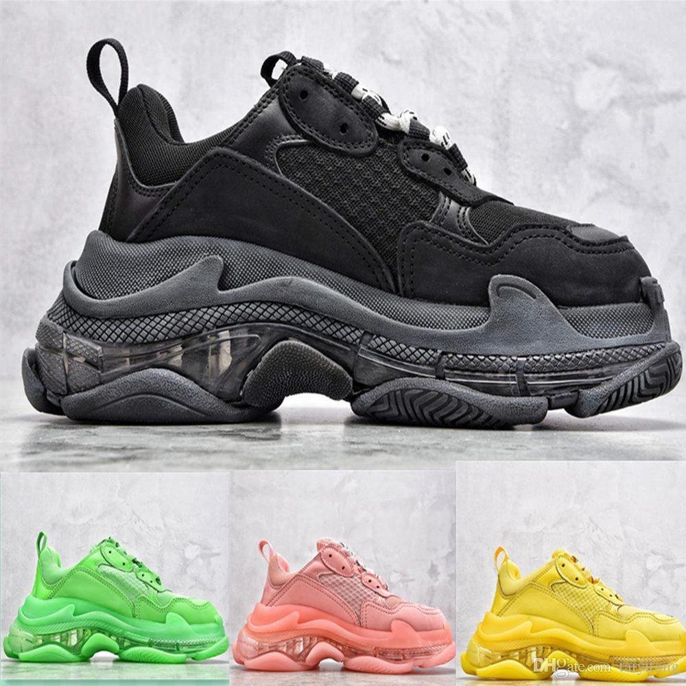 Yüksek Kaliteli Paris Triple-S 17FW Kristal Yeşil Moda Baba Ayakkabı Platformu Triple S Casual Sneakers Erkek Kadınlar Vintage Kanye Eski Gran