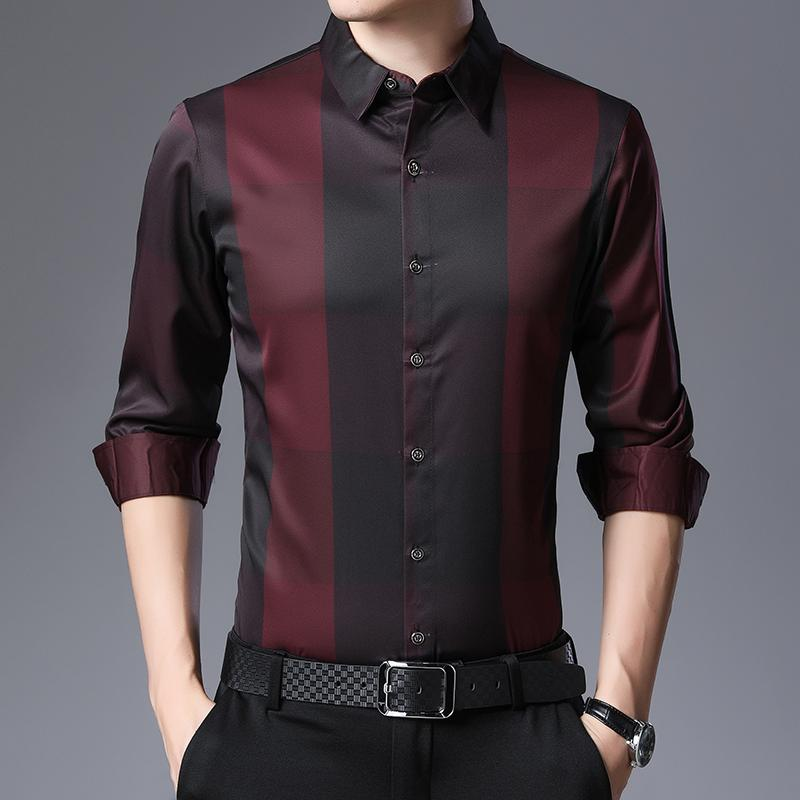 New Dress Shirt Hommes Printemps à manches longues à carreaux travail d'affaires Chemises Slim Fit Camisa Masculina Casual Hommes Chemises C576