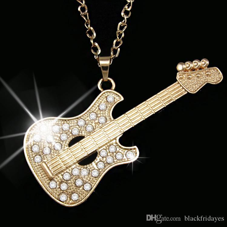 Guitar Necklace Hip Hop Pendant Long Necklace with Diamond Necklace Jewelry Gifts Men and Women Jewelry