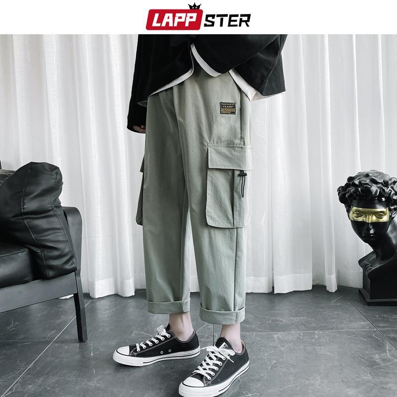 LAPPSTER hombres coreanos 4 colores Pantalones de carga 2020 Trajes para hombre Negro holgados pantalones chándal Hip Hop floja ocasional de los pantalones Sweatpants