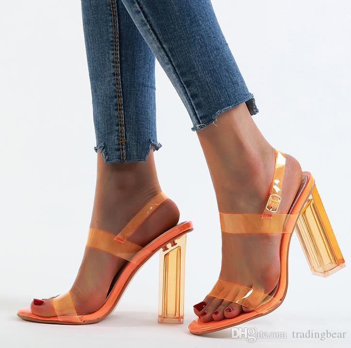 Plus Size 35 To 40 41 42 Trendy Clear Transparent Chunky Heels Sandals Women Summer Shoes Purple Orange Silver 12cm