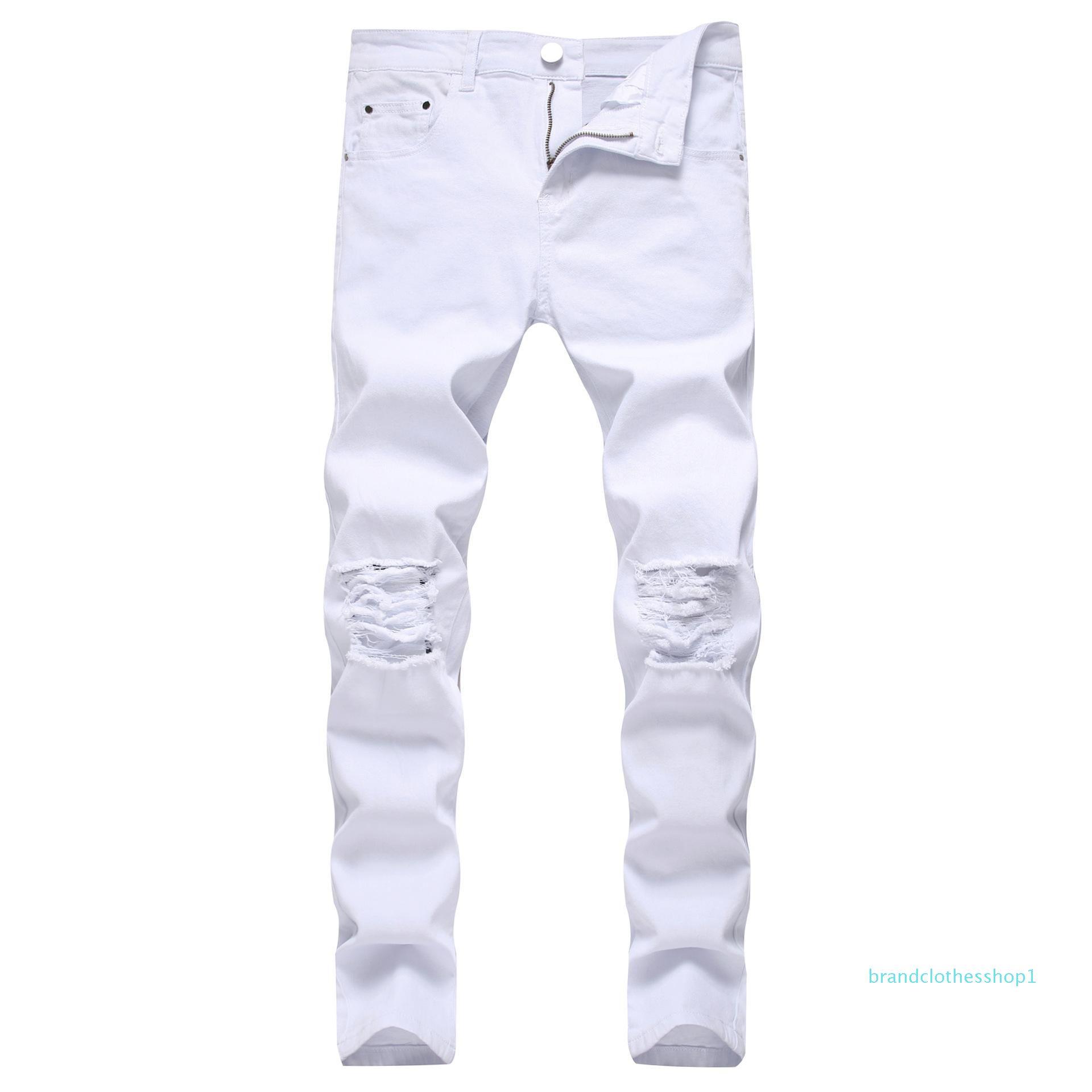 Homens de Moda Jeans 2020 Nova Primavera / Verão New Fashion Streetwear Hip Hopbrand Pure Pants Magro elásticas Jeans Skinny 2 Colores S-4XL