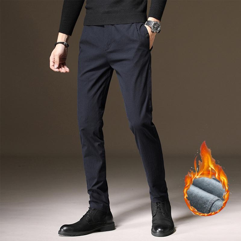 Negócios calças casuais cor sólida preto cinza azul três cores estiramento pés calças de inverno, mais de veludo calças quentes dos homens