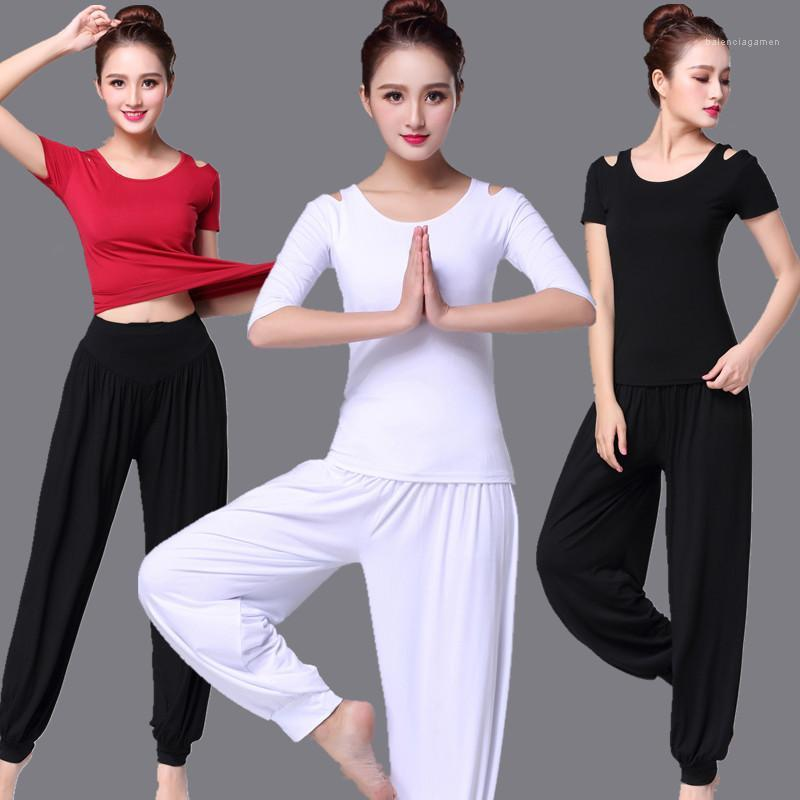 Womens Solid Color Fitness Yoga Suit Casual Loose Short Sleeve Trousers Sports Two Piece Suit