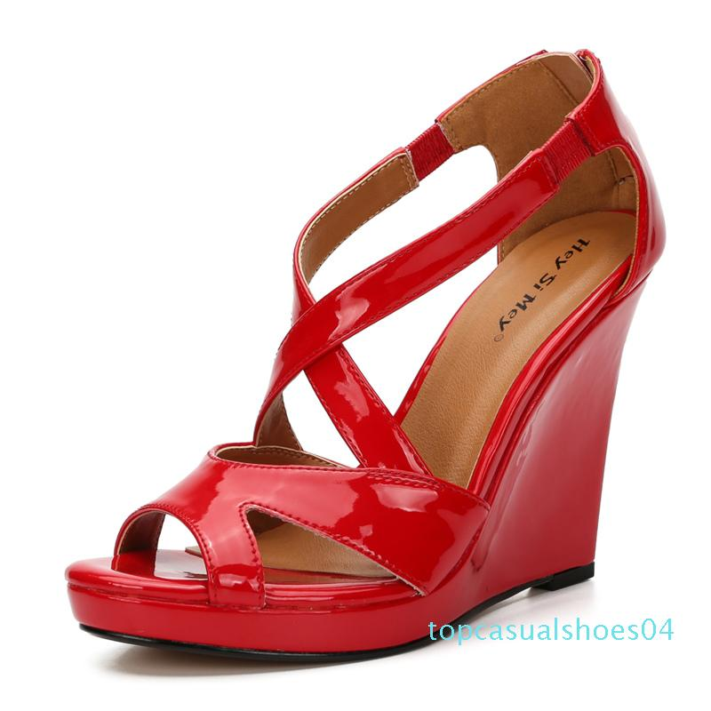 Red Wedge Heel Shoes