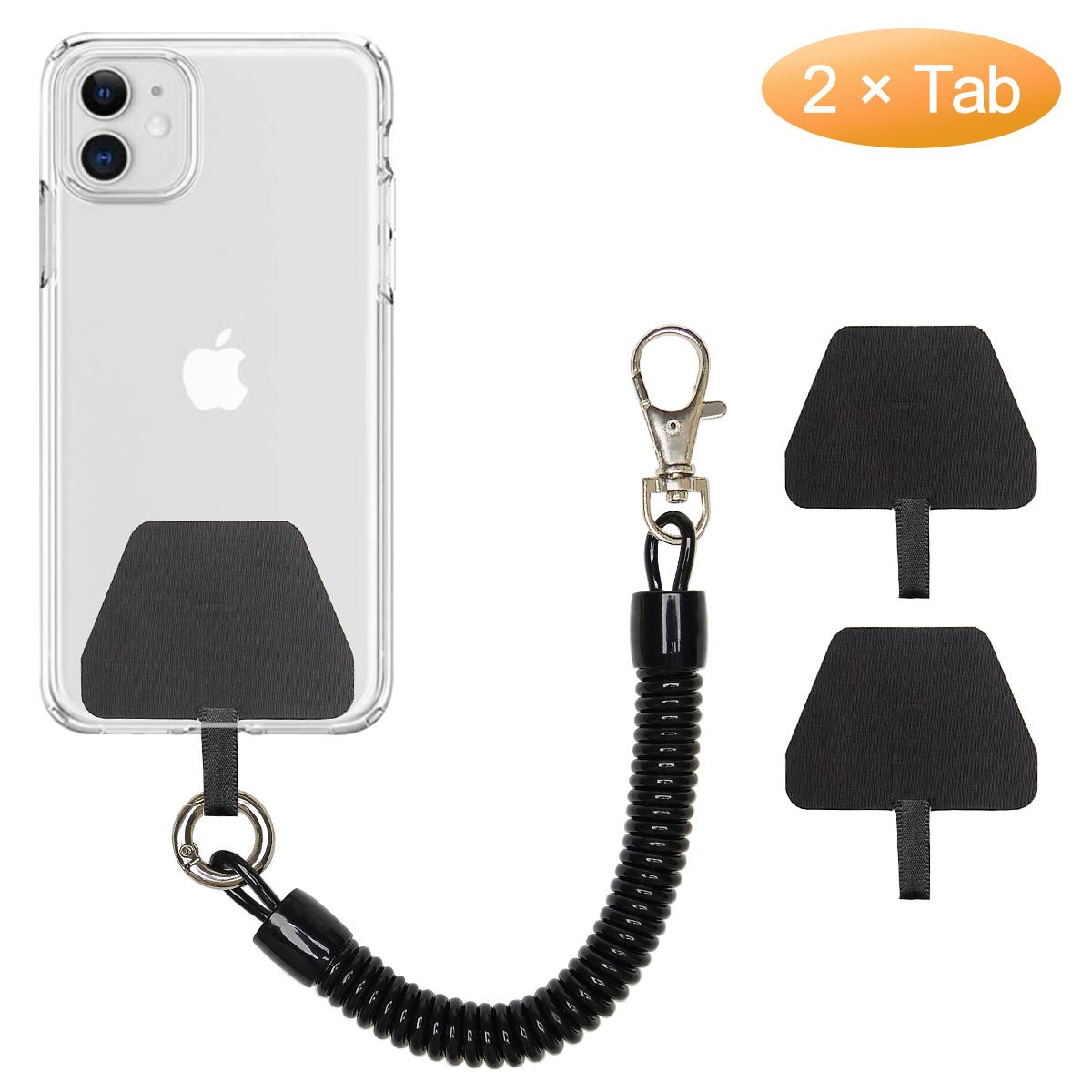 Telephone Wire Key Ring Securing Grips Tool Keychain pu Elastic lasso cell Phone Loop Spring Lanyard Tether with Patch