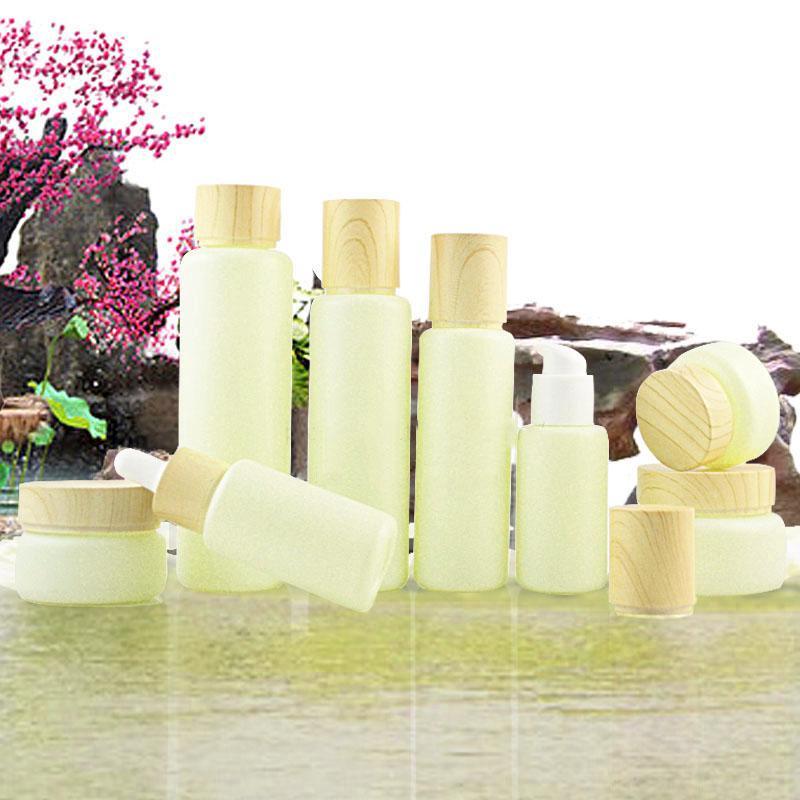 Paketleme Şişeleri 15g Süt Yeşil Cam Şişe 30G Krem Kavanoz Izole Kap Toner 120 ml Boş Damlalık Bottel 30 ml Emülsiyon Konteyner Flakon 60 ML