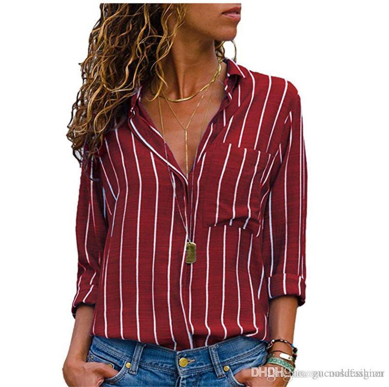 Primavera Mulheres Striped Impresso camisas 5XL Sexy Womens Clothes OL Feminino Lapela Neck Blusas desenhador de moda