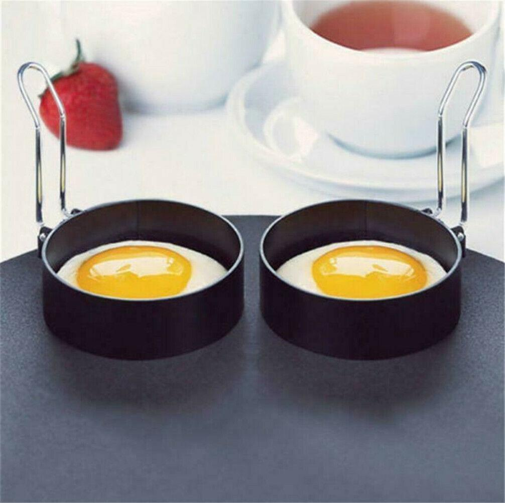 Non Stick Metal Egg Rings Frying Perfect Circle Round Fried//Poach Mold+Handle UK