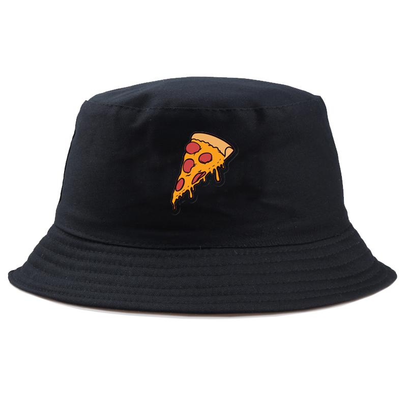 Summer fisherman hat Women Cartoon Pizza bucket Hats for Unisex bucket hat Vintage print mens fishing hat panama cap