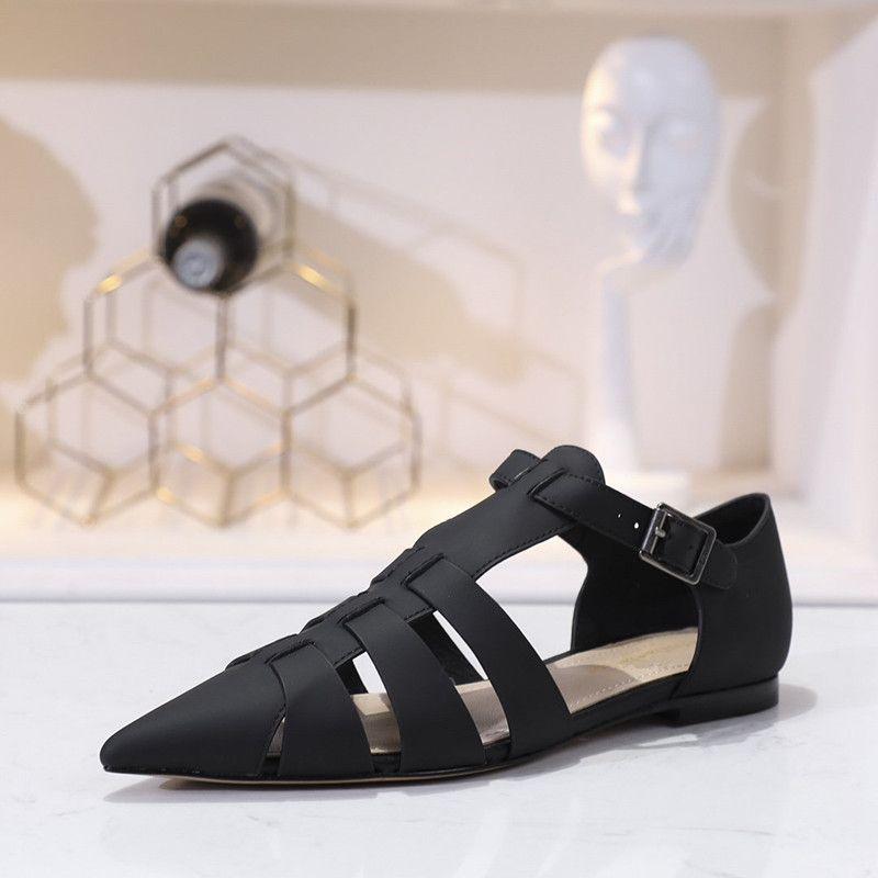 Verão New chegada clássicos de design mulheres sandálias de couro genuíno baixos sapatos de salto sandálias romanas com os dedos apontados