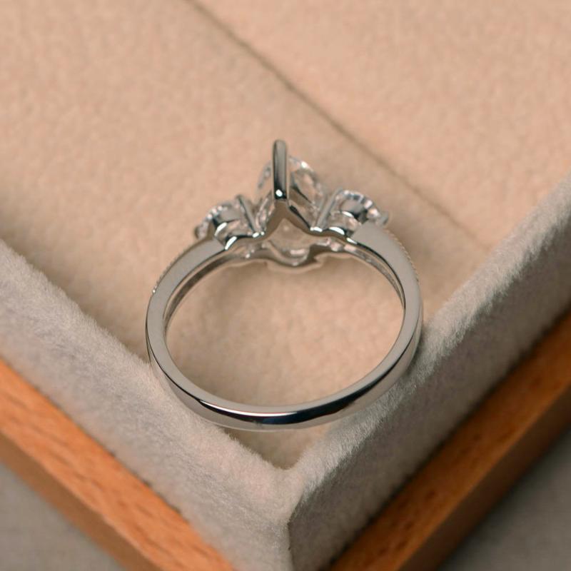 Lusso di laboratorio femminile diamante anello di pietra reale di 100% 925 Argento Anelli di nozze per le donne promessa d'amore anello di fidanzamento