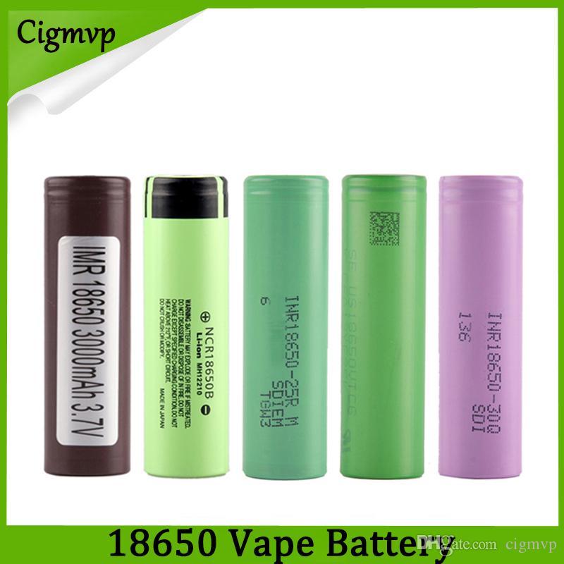 Best Quality HG2 30Q VTC6 3000mAh NCR 3400mah 25R 2500mAh 18650 Battery E Cig Mod Rechargeable Li-ion Cell Battery