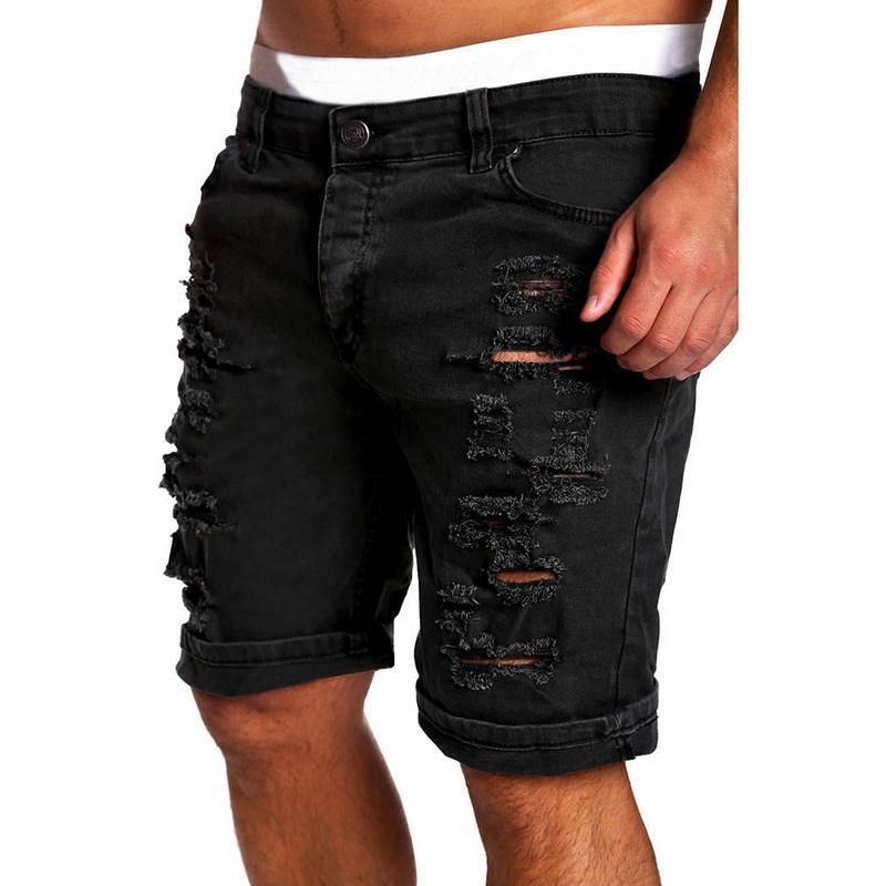 2020 Yeni Erkek Düzenli Denim Kısa Jean pantolon Yaz Casual Delik Fermuar Orta Bel Şort Erkekler Katı Jean Şort Q6405