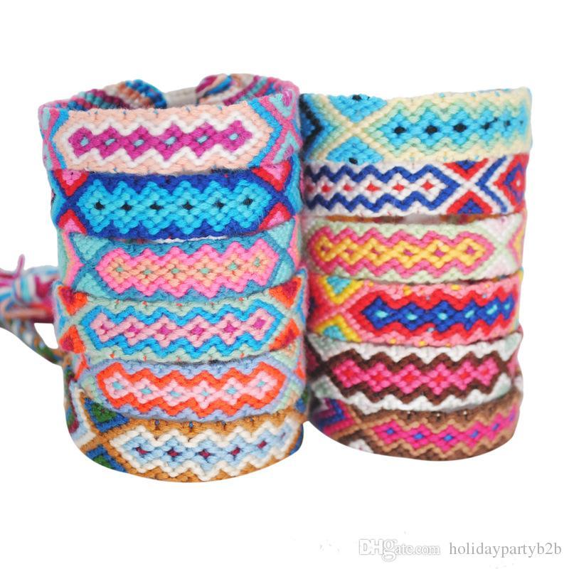 Böhmische Thread Armband Retro handgemachte Boho Multicolor String Cord Woven geflochtene Hippie Freundschaftsbänder Frauen Männer