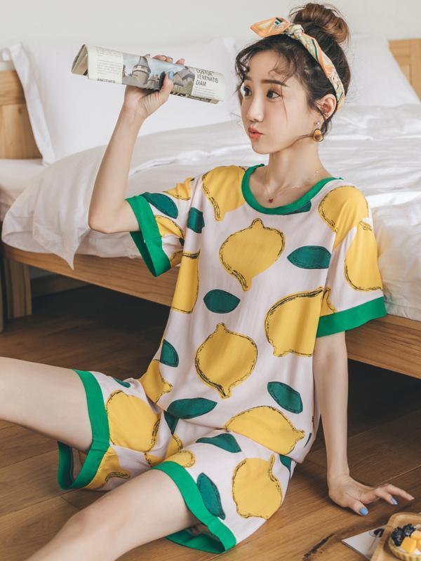 Manica corta sottile di estate di bella Pigiama Donne Stampato Shorts Pajamas Set girocollo a casa abiti Grande Multicolor