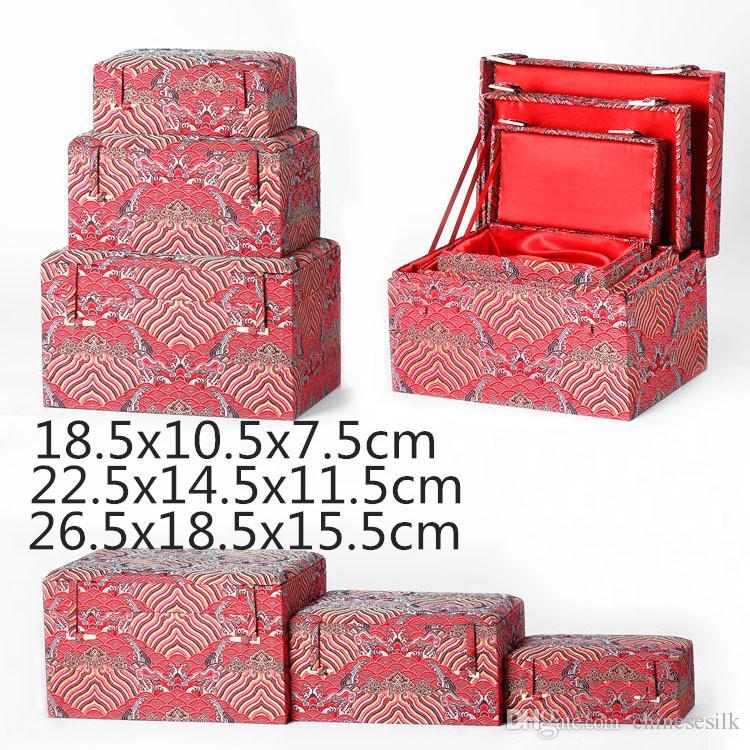 Grande Retângulo Macio Chinês Caixa De Armazenamento De Tecido De Seda De Madeira Caixa De Embalagem De Presente De Luxo Artesanato Jóias Trinket Caixa De Coleta De Pedras Preciosas 3 tamanho
