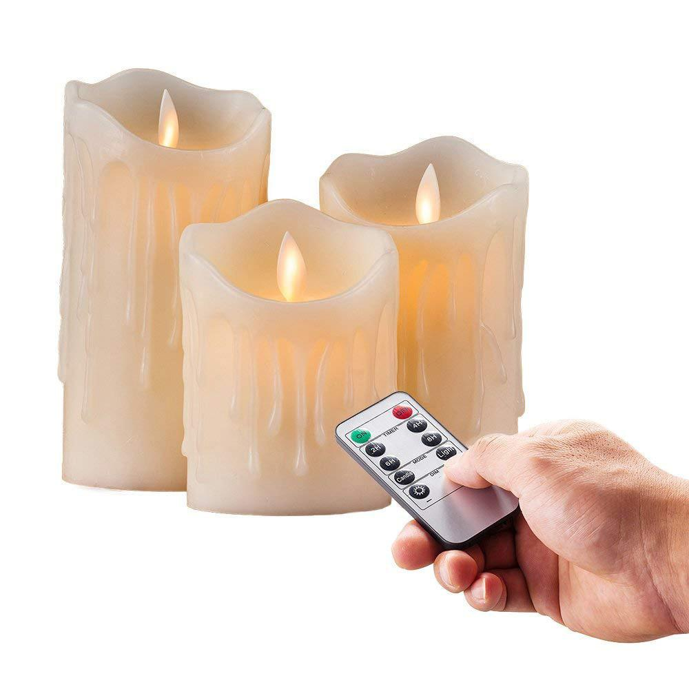 Set Of 3 Flickering Flameless Pillar Led Candle Remote Controlled Timer Moving Dancing Wick Melted Edge Wedding Xmas Party-amber T8190620