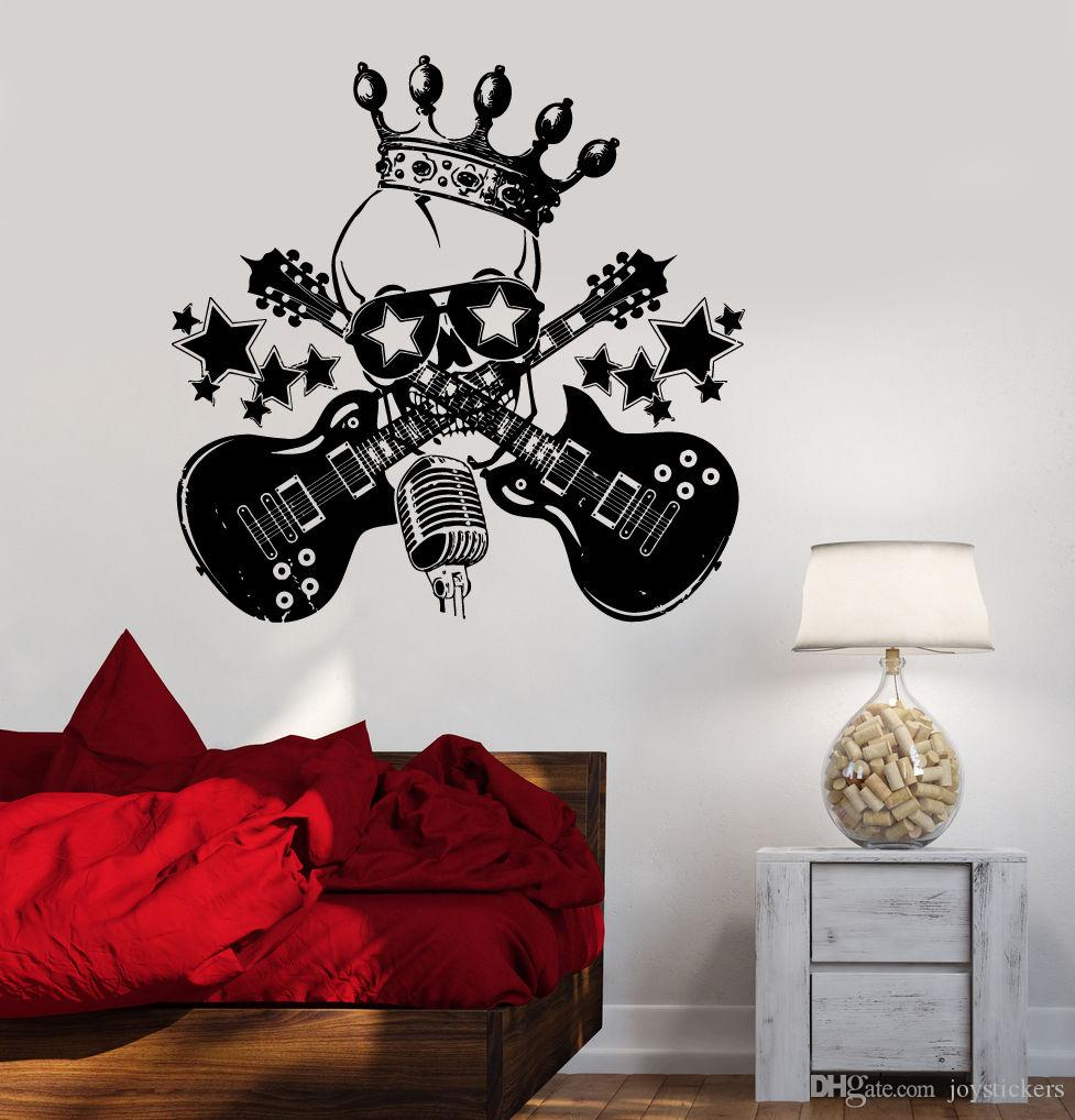 Music Guitar Window Decal Removable Vinyl Rock Skull Wall Sticker Home Art Mural Music Studio Guitar Wall Decoration