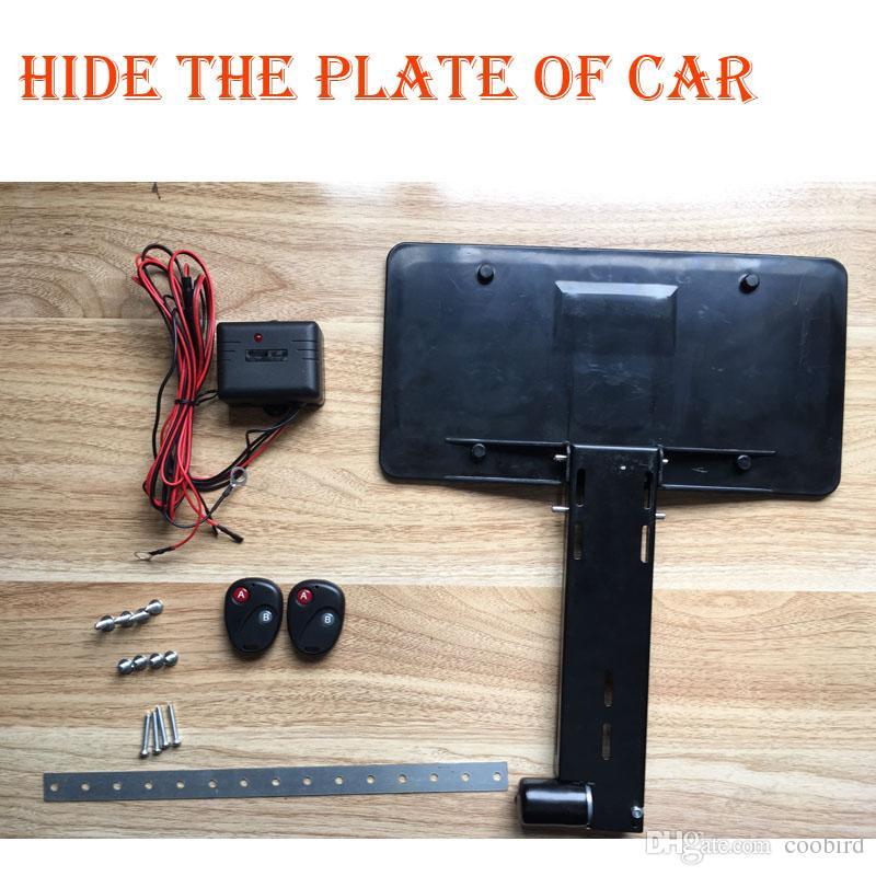 شحن مجاني-التحكم عن بعد سيارة بلاستيكية لوحة ترخيص إطار حامل سيارات ستارة مغلقة لوحة 360 * 150mm إخفاء لوحة الإطار تظهر N اذهب