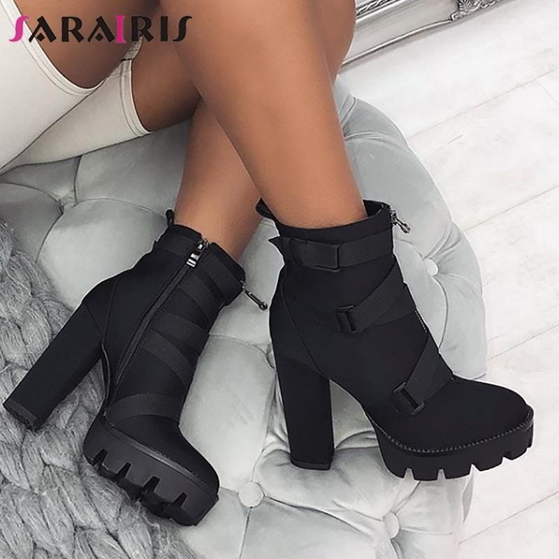 SARAIRIS High Heel 4 CM Platform Height Ankle Women Sexy Boots Pointed Toe 15 CM Chunky Heels Shoe Boot Ladies Shoes