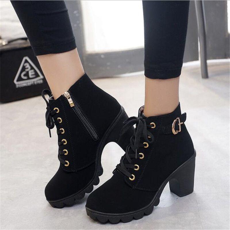 nueva colección 68cf9 dc91b Compre PADEGAO Tallas Grandes Botines Mujer Plataforma Tacones Altos  Zapatos Con Hebilla Tacón Grueso Botas Cortas Señoras Calzado Casual Envío  De La ...