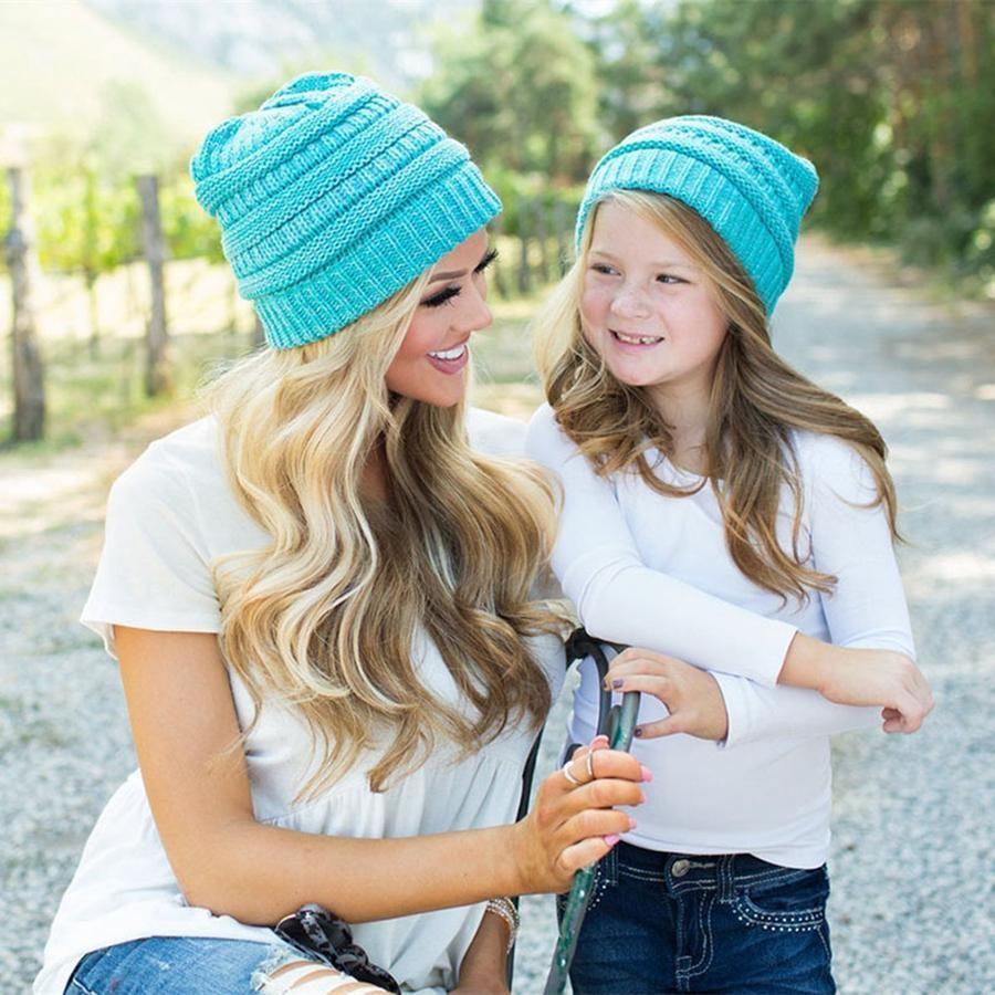 Parent-child Knitted Beanie Mother Kids Warm Winter Hat Crochet Soft Cap Outdoor Sports Ski Cap Party Hats LJJO7437-4