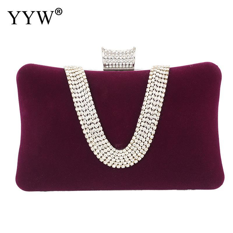 YYW Purple Suede Velvet Rhinestone Stud One Ring New Evening Cocktail Clutch Bag Purse Women Handbag For Wedding Party