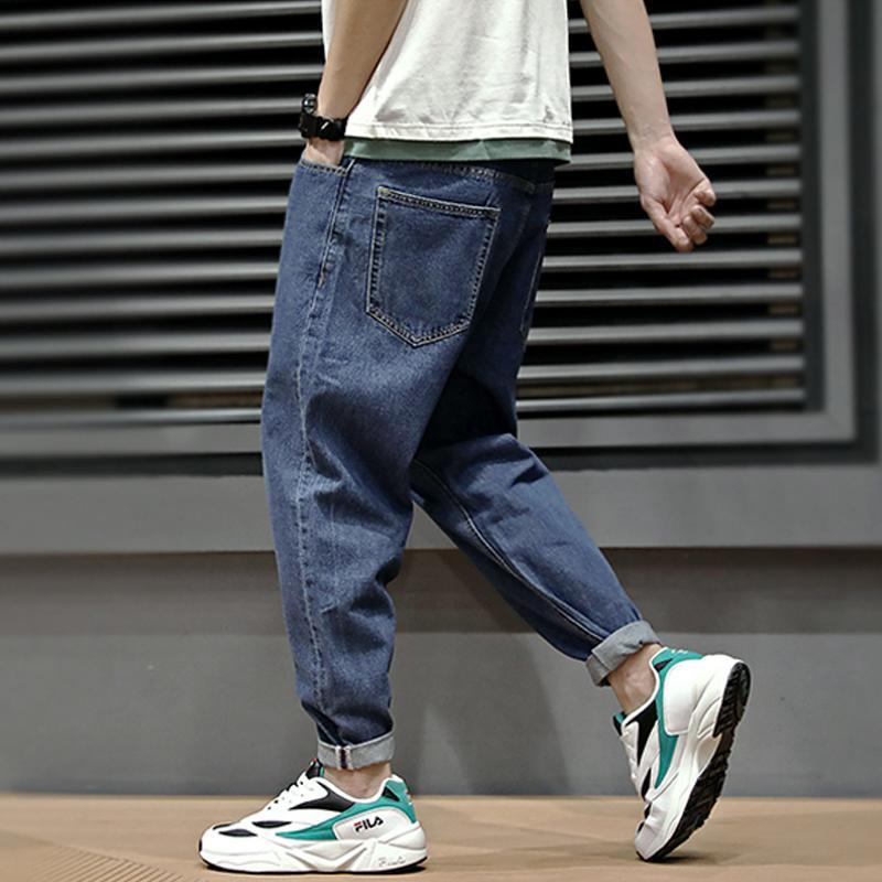 여름 패션 남성 청바지 레트로 블루 간단한 느슨한 맞는 하렘 바지 스트리트 빈티지 일본식 클래식 테이퍼 청바지 남성