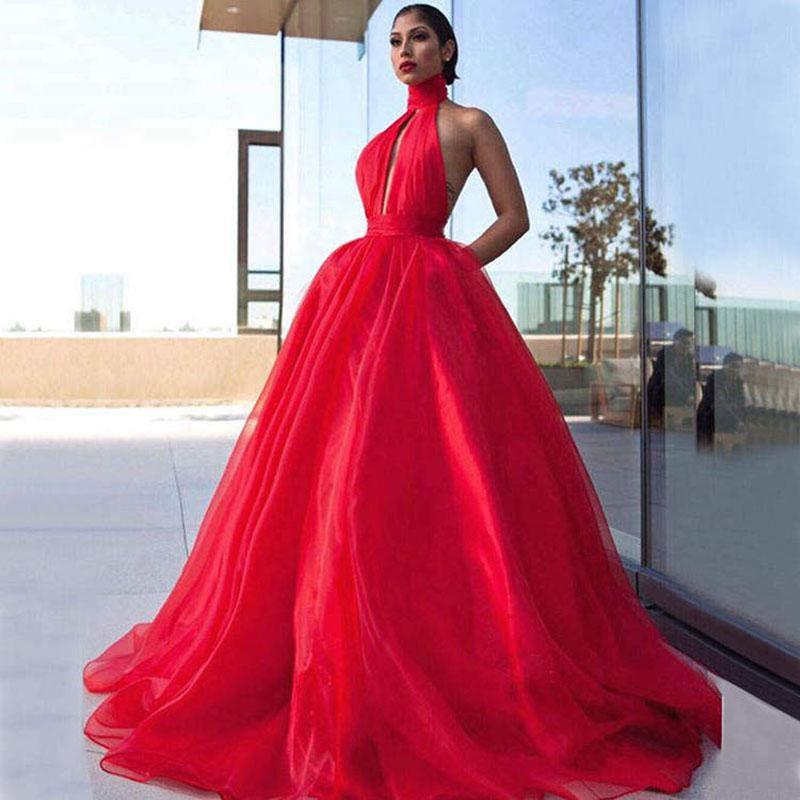 Abiti lunghi da ballo rosso 2019 Elegante collo alto senza maniche Plus Size Backless African Women Organza Prom Dress