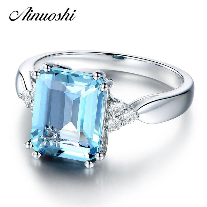 Ainuoshi 3 Карат Emerald Cut Luxury Sky Blue природных Топаз Кольцо 925 серебро обручальное кольцо Sterling Свадебные украшения подарков J190707