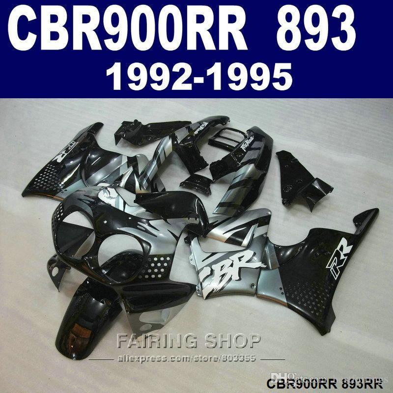 사용자 정의 페인트 페인팅 키트 Honda CBR900RR CBR 893 1992-1995 블랙 실버 페어링 세트 CBR 900 RR 09 10 11 CV34