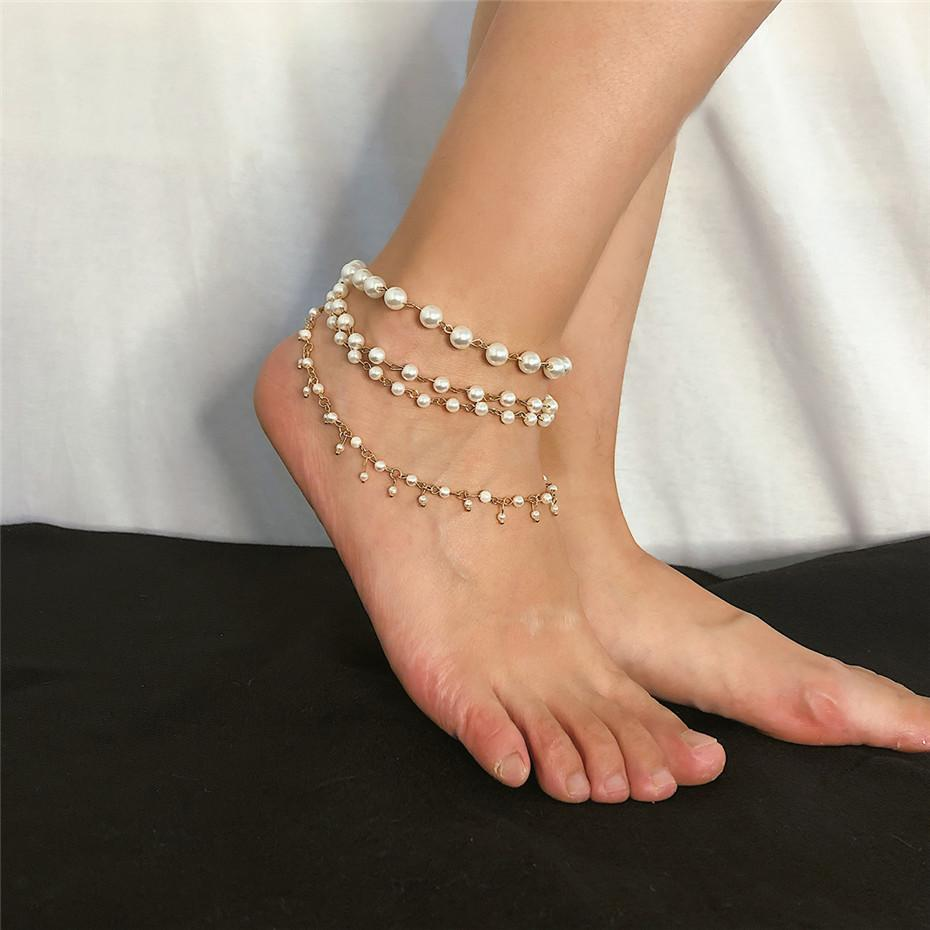 Ingemark Sweet Imitation 진주 태슬 앵클릿 팔찌 여성 맨발 샌들 한국어 Multi Layer Ankle Summer Beach Jewelry