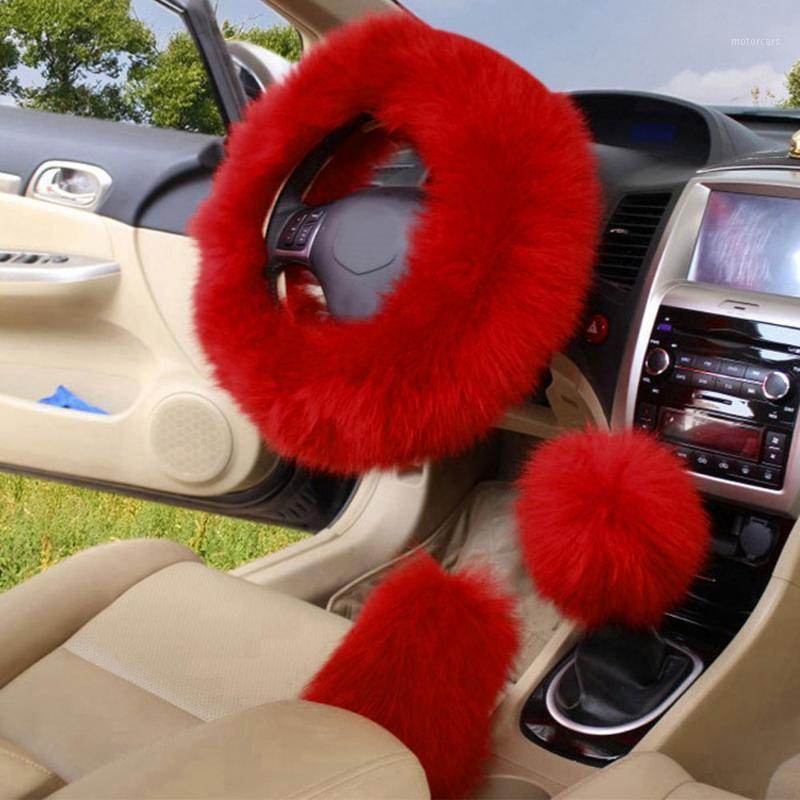 3Pcs / Set-Winter-lange Wolle-Auto-Lenkrad Schaltknauf Schalthebel Stellbremse Abdeckung warme weiche Plüsch-Frauen Zubehör 6Color1