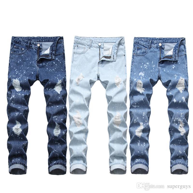 Jeans Hommes Distressed Ripped Biker Jeans Slim Fit Motard Denim Jeans Pantalons mode taille plus 28-40 JS54