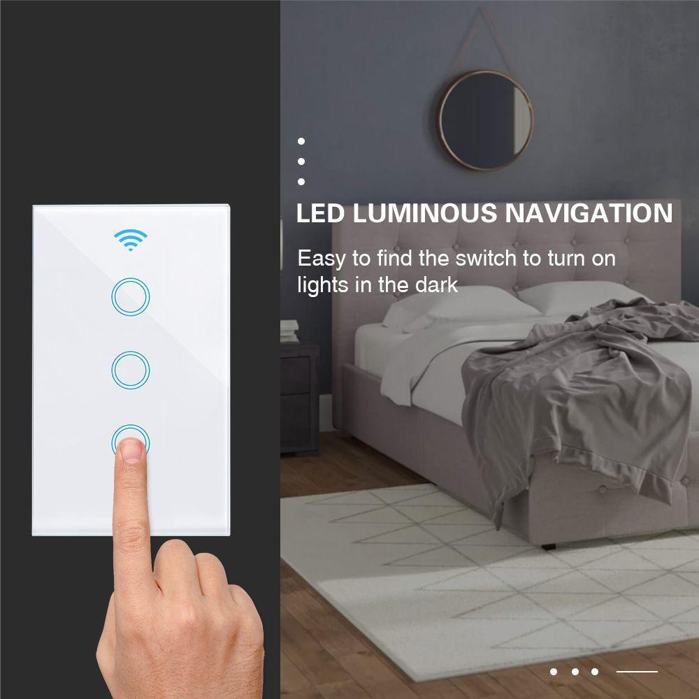 120 tipi ABD düzenleme akıllı tek yangın sıfır yangın WiFi anahtarı + RF433 uzaktan kumanda anahtarı akıllı ev uzaktan kumanda