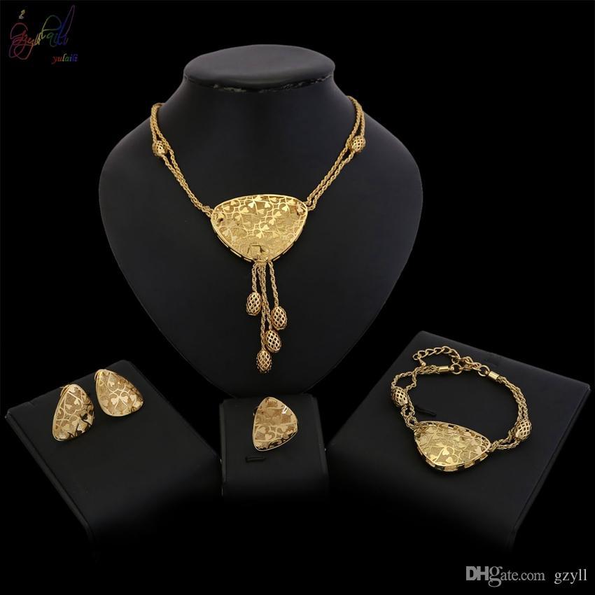 Jolies femmes collier bracelet boucles d/'oreilles Anneau Set Mariée Mariage Bijoux Set