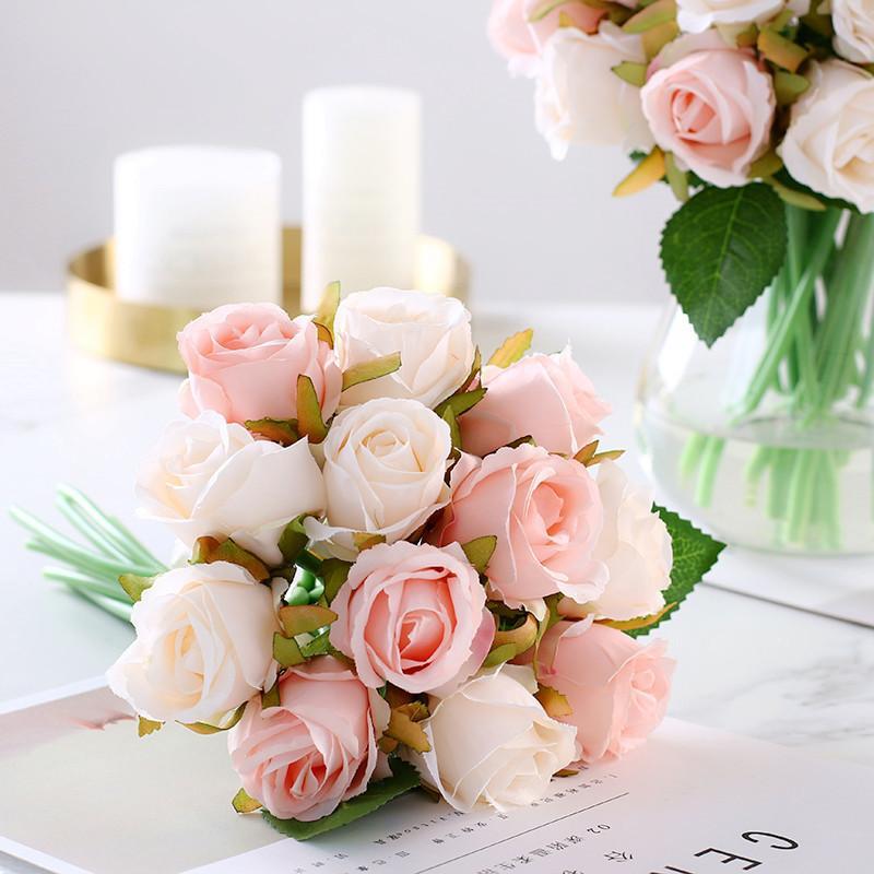 12 pz / lotto artificiali fiori di rose bouquet da sposa rosa reale fiori di seta per la decorazione domestica decorazione della festa nuziale