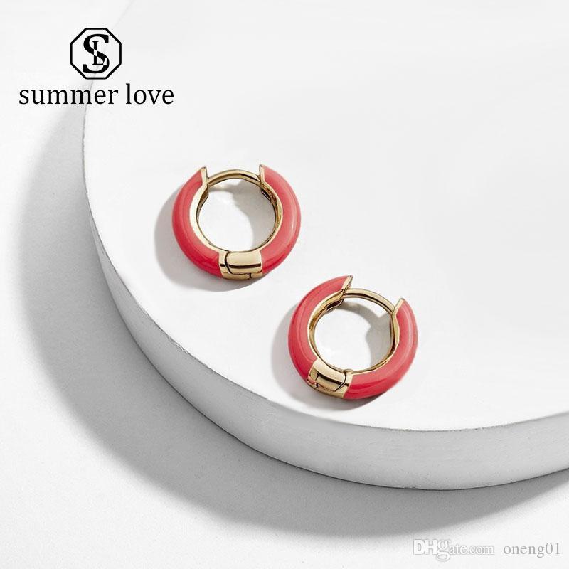 2019 New Design Popular Multicolor Enameled Ear Cuffs for Women Summer Copper Mini Drop Oil Circle Hoop Earring Jewelry