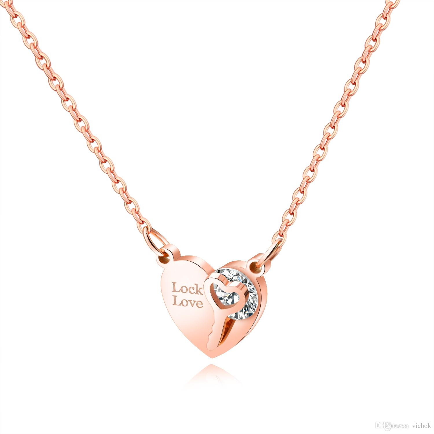 Stainless Steel Shiny Heart key Necklace Women CZ Stone Jewelry Chain Pendant Rose Gold Necklace VICHOK