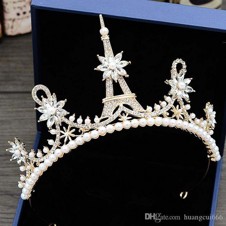 Best-venda de noiva high-end de casamento coroa doce princesa da coroa acessórios vestido de ferro designer de torre flor embutidos strass pérolas noite