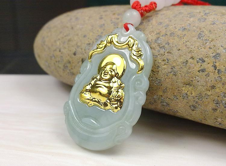 Hot Sales Unisex Buddha Gold Jade Pendant Discount Top Quality Good Luck Necklace For Women Men