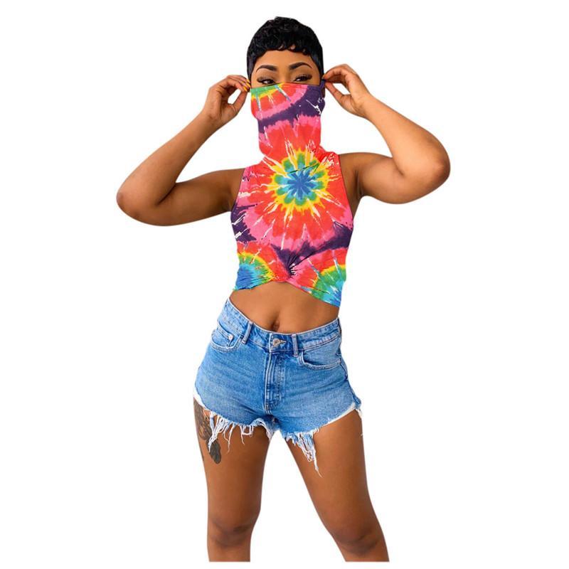 2020 Nueva S-3XL Camiseta de las mujeres Moda Tie-dye impreso floral del chaleco sin mangas de la camiseta con la cara máscara de la cosecha superior de moda moda de la señora ropa D6905
