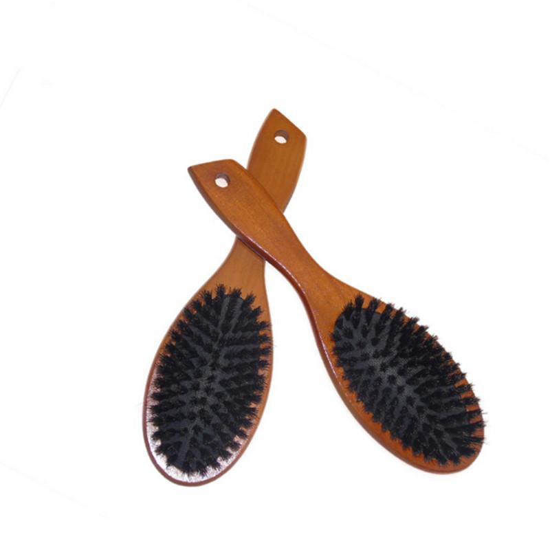 Hölzerne Massage-Kamm Naturwildschweinborsten Anti-Statik-Haar Scalp Paddle Brush Buche Holzgriff Haarbürste Styling-Werkzeug