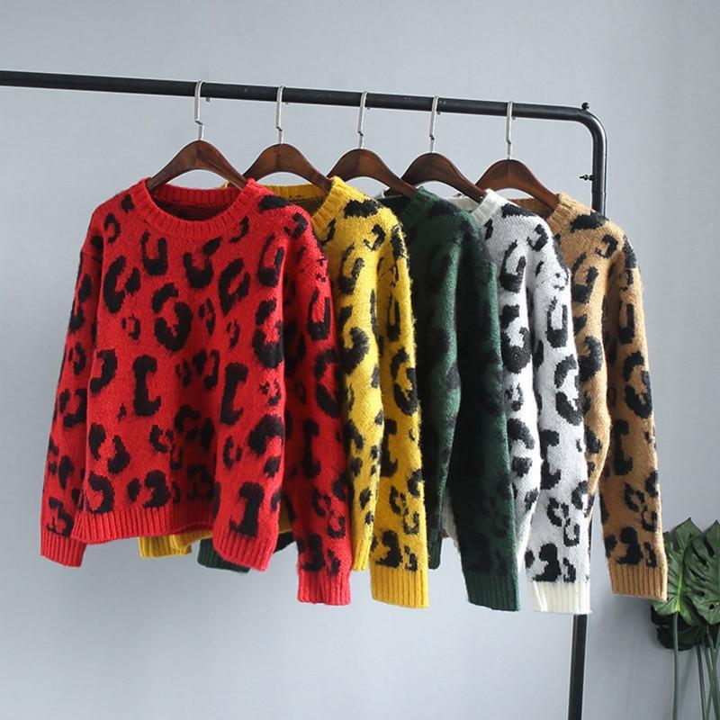 Амолафа Женщины Леопардовый Трикотаж Джемперы Топы Женщина Мягкий Printted Вязание 5 Цвет Свитера J190618