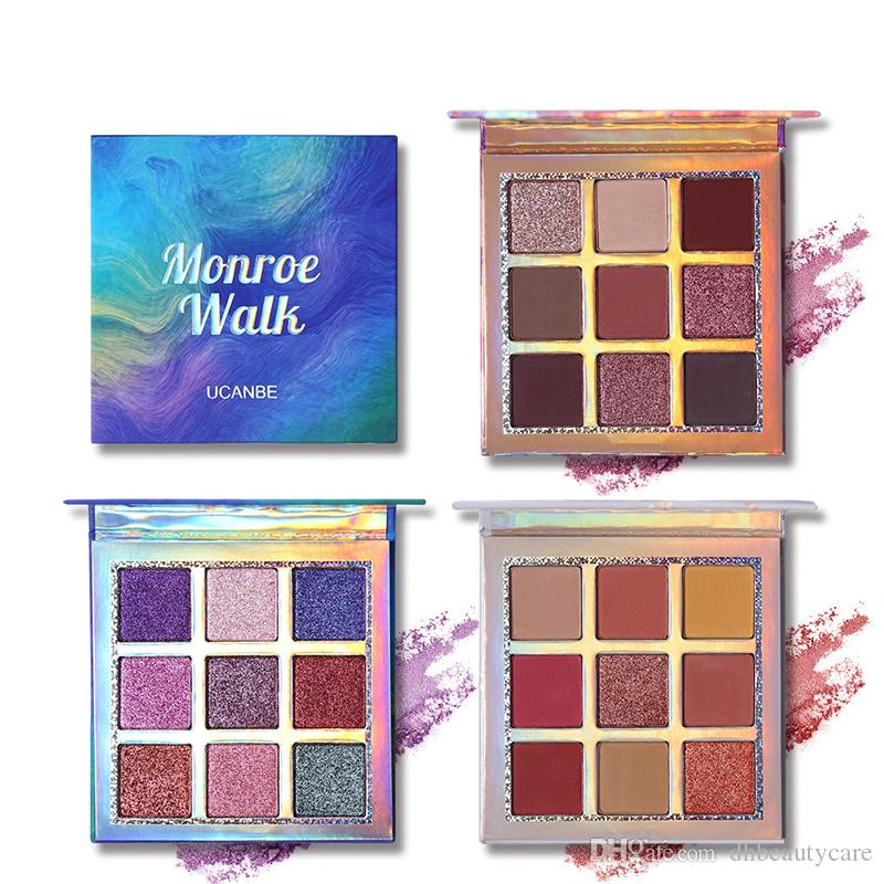 9Colors la gama de colores mate metálico brillante de la sirena del brillo sombra de ojos 3 estilos mezclados estilos Natural Eyes maquillaje envío libre