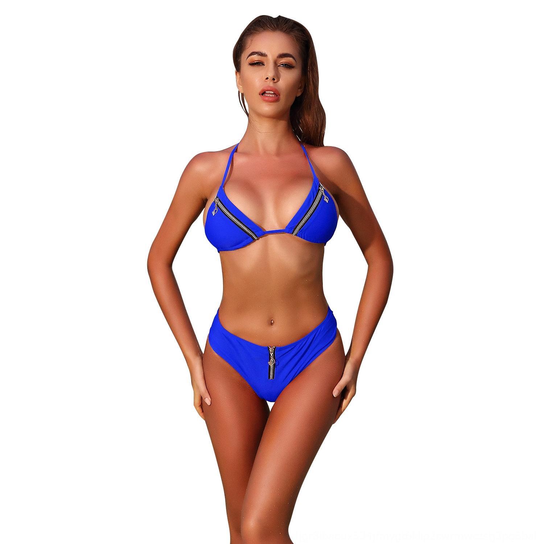 2020 ou Shuang due pezzi cerniera spaccato 2020 dello swimwear del bikini di nuoto del costume da bagno ou Shuang vestito a due pezzi cerniera diviso costumi da bagno del bikini