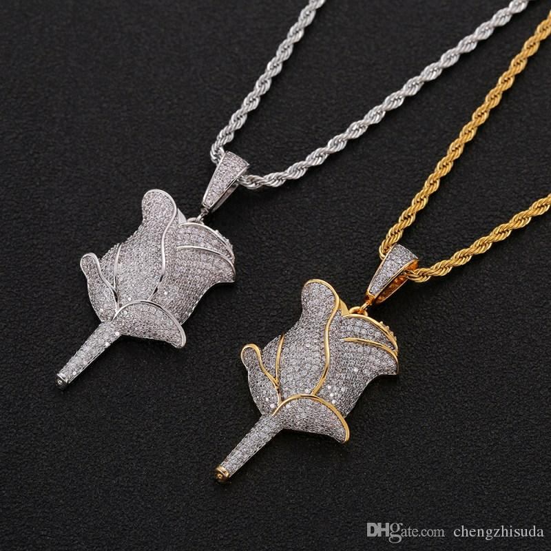 Hip Hop Rose Flower Pendant Necklace With Rope Chain Iced Out Cubic Zircon Bling Men Jewelry